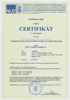 Certifikát ČSN EN 1176