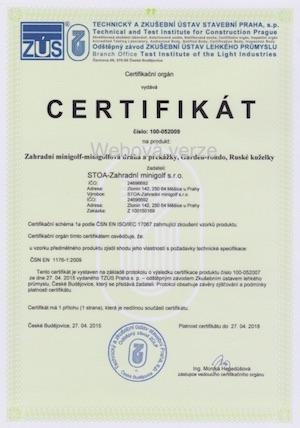 Certifikát ČSN EN 71-1,2,3